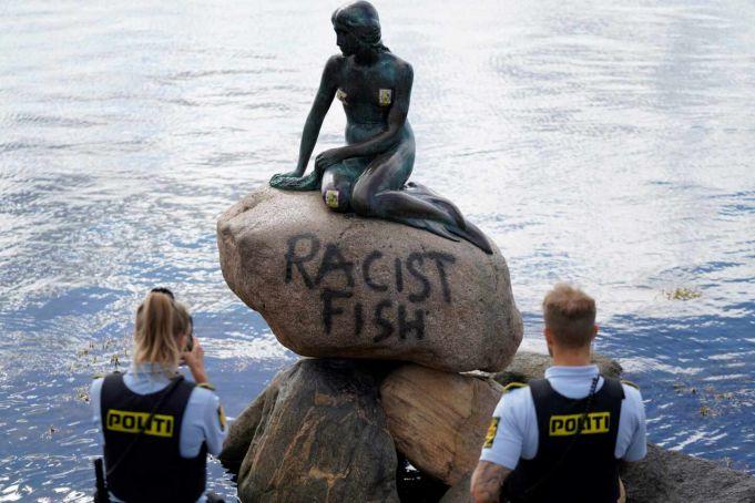 Racist Fish: Little Mermaid statue vandalised in Copenhagen