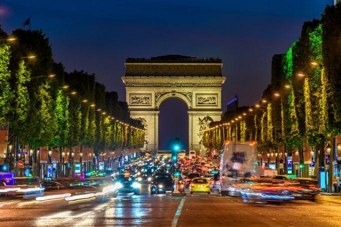 Christmas lights on the Champs-Élysées in Paris