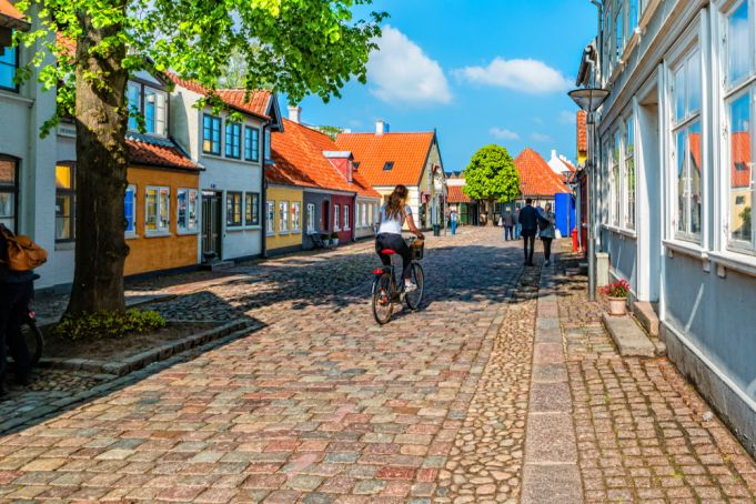 Colored traditional houses in old town of Odense, Denmark.