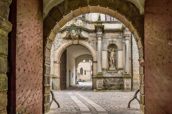 The inner courtyard is the heart of Kronborg Castle