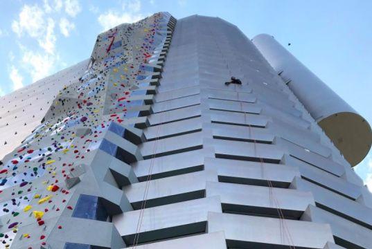 85 meter high artificial wall built in Denmark for climbing